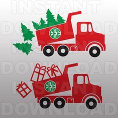 Christmas SVG File-Dump Truck SVG-Monogram svg-Die by sammo