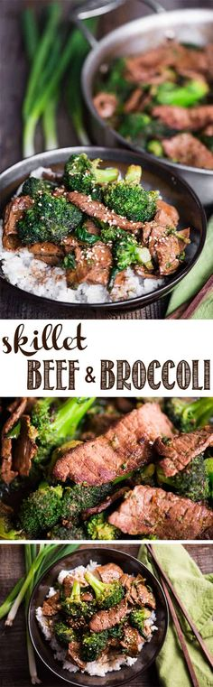 Skillet Beef and Broccoli is a quick and easy stove top dinner that is bursting with flavor. A variety of tasty ingredients come together to create an intensely delicious sauce. The meat is perfectly lean and tender. The vibrant green broccoli rounds out the meal. Beef and broccoli stir fry will be a family favorite! #beefandbroccoli #broccolibeef