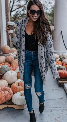 826ca5daaf80a gray and black leopard print open long cardigan Leopard Cardigan Outfit