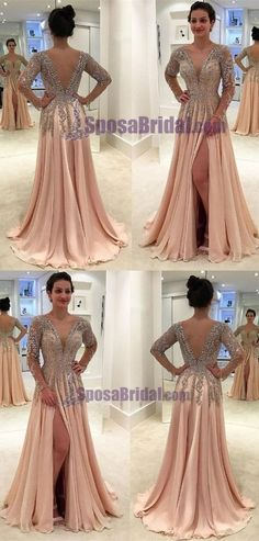 Prom Dress Princess, A-Line Deep V-Neck Floor-Length Light Champagne Chiffon Prom Dress with Appliques Beading Shop ball gown prom dresses and gowns and become a princess on prom night. prom ball gowns in every size, from juniors to plus size. Pageant Dresses For Teens, 2 Piece Homecoming Dresses, Elegant Bridesmaid Dresses, Prom Dresses Long With Sleeves, Tulle Prom Dress, Prom Party Dresses, Modest Dresses, Occasion Dresses, Bridesmaid Gowns