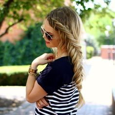 Wearing a Dutch Fishtail braid out to dinner tonight Tutorial link in my bio! #instabraid #instastyle #braidphotos #hairpost