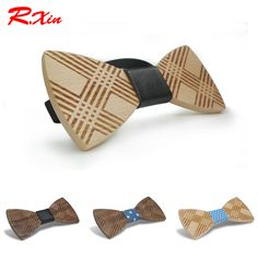 R.XIN Brand Fashion Men's Wooden bowtie Bowknot Accessories Business Neckties Carving wood Bow Tie Cravat Stripe ties