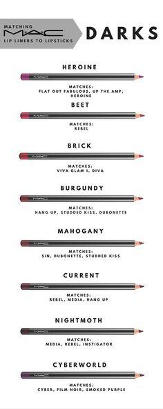 maderno on Matching MAC liner with lipsticks. Part 3 - DarksMatching MAC liner with lipsticks. Part 3 - Darks Love Makeup, Makeup Inspo, Makeup Inspiration, Beauty Makeup, Hair Beauty, Beauty Tips, Makeup Dupes, Skin Makeup, Makeup Eyeshadow