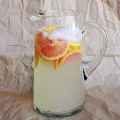 Grapefruit Lemonade- to a large pitcher of lemonade add in 2 cups of grapefruit juice and fresh slices of grapefruit. Give this one a taste when your done-as you may want to add more sugar if you feel it's too tart.