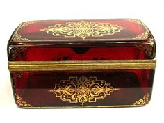 Magnificent very large Bohemian 19th Century Deep Ruby Red and Gold