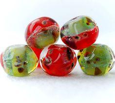 Pomegranat, lampwork boro glass bead set