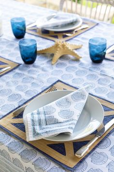 For your gatherings by the sea with family and friends. Indian hand blocked table linens in our blue seashell print are stylish and chic. 100% cotton hand-blocked napkins, placemats, tablecloths, runners, aprons, tea towels and oven mitts make your entertaining effortless. Block Table, Tablecloths, Table Linens, Aprons, Tea Towels, Tabletop, Sea Shells, Runners, Oven