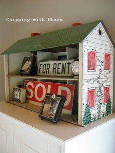 Turn a dollhouse into a cute shelf!  chippingwithcharm.blogspot.com