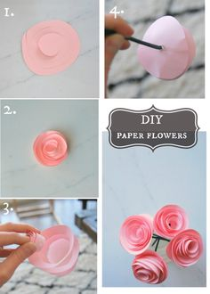 Make these super pretty DIY rosette paper flowers with some scrapbook paper, stems, and glue! All dollar store materials. Super simple tutorial and they look darling. Click for the full how-to tutorial on the blog.