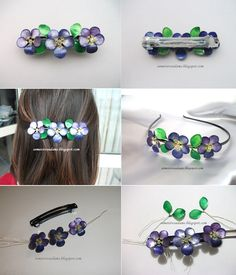 Beautiful Hair Accessory with Nail Polish / Order . Nail Polish Flowers, Nail Polish Jewelry, Nail Polish Crafts, Nail Polish Art, Resin Jewelry, Jewelry Crafts, Jewellery, Wire Crafts, Resin Crafts
