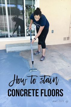 How to Stain Outdoor Concrete Floors with the StainStick Stain Applicator Tool and Quick Painter Painting Tool from HomeRight Stained Concrete Porch, Outdoor Concrete Stain, Painted Concrete Floors, Painting Concrete, How To Stain Concrete, Colored Concrete Patio, Cement Stain, Concrete Pathway, Concrete Staining