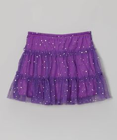 Another great find on #zulily! Purple Sequin Tulle Tiered Skort - Girls by Cutie Patootie #zulilyfinds