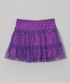 Another great find on #zulily! Purple Sequin Tulle Tiered Skort - Girls by Cutie Patootie #zulilyfinds