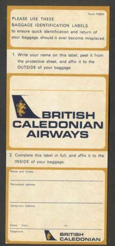British Caledonian Airways Bag ID Labels