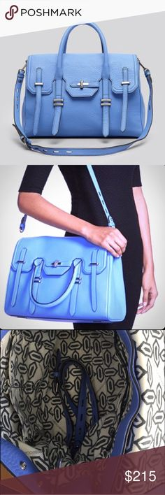 """Rebecca Minkoff Jules Satchel in Blue Some minor wear here and there, but still in EUC.              14.5""""W x 10""""H x 6""""D 3.5"""" handle drop 17"""" adjustable detachable shoulder strap drop Custom black hardware Rebecca Minkoff Bags Crossbody Bags"""