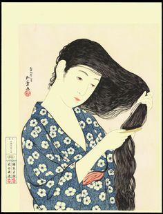 Artist: Hashiguchi Goyo Title:Woman Combing Her Hair - 髪梳ける女 Date:1920