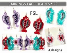 Earrings lace peacock - FSL - dentelle - Machine embroidery design.  please note: This is NOT a finished item that will be mailed to you. It is a digital file used for machine embroidery. You must have an embroidery machine. Used with water soluble stabilizer only. This earrings lace designs requires a very thick soluable stabilzer. Can use (SOLVY FILM 80 - Stable Water-Soluble Embroidery) or (Vilene Water Soluble Embroidery Stabilizer & Backing - Wash Away - For Free Standing Lace ).   E...