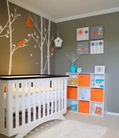 Orange Grey Decoration with Birds Tree Pictures in Baby Nursery Bedroom Wall Stickers Murals