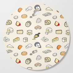 Cheese pattern Cutting Board by laurafrere Pattern Cutting, Graphic, Illustration, Cutting Board, Boards, Cheese, French, Patterns, Deco