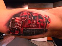 Off the Map Tattoo : Tattoos : Max Egy : Color Freight Train Tattoo