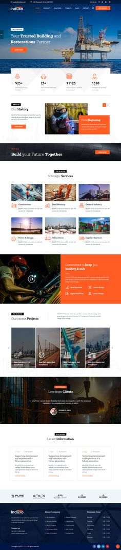 Buy Induxo - Industry WordPress Theme by trippleS on ThemeForest. Industrial WordPress Theme Induxo is a clean and classy look business WP theme for Industry Services, Factory, Power,. Html Css, Website Themes, Website Ideas, Web Themes, Website Designs, Web Design Mobile, Page Design, Design Design, Blog Design