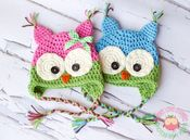 Colorful Owl Hats Crochet by Sweet Love Creates