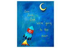 One Kings Lane - In the Nursery - Zoom Zoom Zoom Print on Canvas