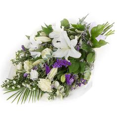 White & Purple Sheaf Whites and purples simply combined to create a classic traditional sheaf, including lilies, iris, september flower and limonium. White Wreath, Floral Wreath, September Flowers, Funeral Flowers, Flowers Online, Flower Delivery, Traditional Design, Floral Arrangements, Iris