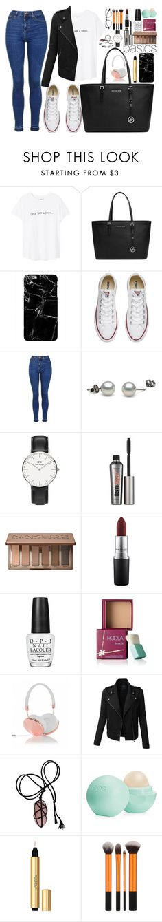 """""""Basics"""" by opheline1610 ❤ liked on Polyvore featuring MANGO, MICHAEL Michael Kors, Converse, Topshop, Daniel Wellington, Benefit, Urban Decay, MAC Cosmetics, OPI and Frends"""