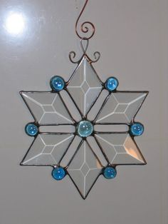 Blue Stained Glass Beveled Star Ornament Suncatcher from Etsy