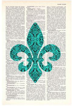 Dictionary page book art print Fleur de Lis II Print on by PRRINT