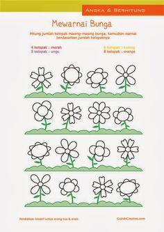belajar anak balita/TK sambil mewarnai kelpoak bunga, hitung angka 1-10