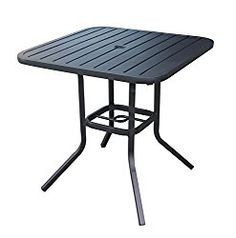 Heavy Duty Steel Frame 29.5 in x 29.5 in Square Bistro Patio Bar Restaurant Outdoor Dining Table with Umbrella Hole – Black