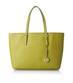Michael Kors Apple Tote! The color is so fresh and vibrant! Spring into it at www.BagLadyShop.com  https://www.bagladyshop.com/products/michael-kors-medium-multifunction-tote-apple-leather-jet-set  #apple #michaelkors #kors #tote #purse #spring #colorful