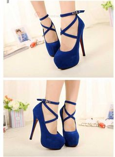 Women's Suede Ankle Strap Buckle Stiletto Shoes #pumps #heels #fashion