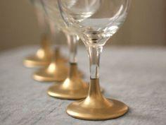 DIY Gold Rimmed Wine Glasses