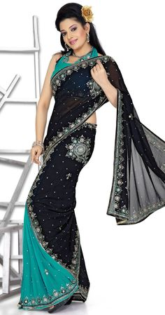 Faux georgette ready pleated sari for party & events GF141871