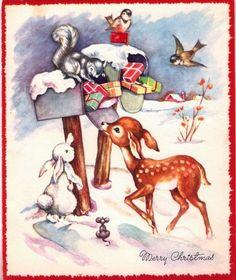 Baby Wildlife Mailbox Winter Scene Vintage Christmas Card