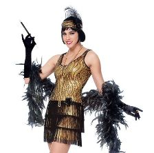 You'll turn heads as you dance the night away in this authentic-looking and sexy Roaring Twenties-style black and gold flapper costume. It comes with the matching headpiece. Also available in x-large. $36.24