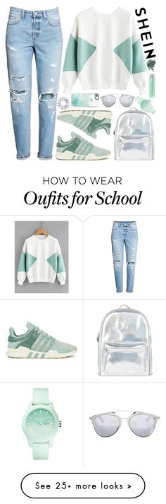 """SheIn Color Block Sweatshirt!"" by nvoyce on Polyvore featuring adidas Originals, Accessorize, Casetify, Christian Dior and Lacoste"