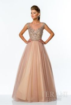 Terani Prom Two-tone tulle a-line ball gown featuring a mesh 6439ae0ecae0
