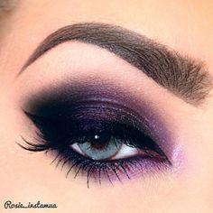 Purple Eye Makeup by @Rosie_instamua using Motives Mineral Gel Eyeliner(Little Black Dress), Pressed Eye Shadows(Fantasy & Ecstasy) and Lustrafy Mascara(Blackout). Click for the products! #LBD #Fantasy #Eyes