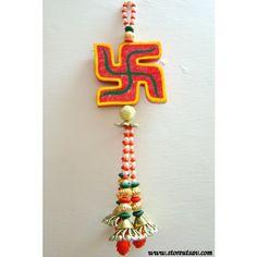 Rajasthani Door Wall Hanging - Wooden Swastika with Multicolored Beads by Store Utsav (www.storeutsav.com)