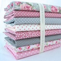 8 X FQ BUNDLE - ISABEL GREY & COORDINATING PINKS & GREYS 100% COTTON FABRIC in Crafts, Sewing & Fabric, Fabric | eBay