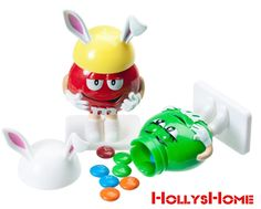 Two m & m Bunny Candy Dispensers, Green and Red Easter Collectible