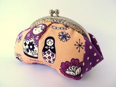 Frame purse clutch Coin purse Russian nesting dolls Matryoshka Coral pink Purple Makeup pouch - Pattern designed by ithinksew.com