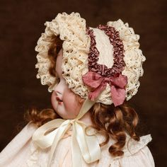 Боннет для антикварной куклы на заказ - Ярмарка Мастеров - ручная работа, handmade