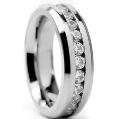 TOPSELLER! 6MM Ladies Eternity Titanium Ring Wedding Band with CZ sizes 4 to 9 $22.99