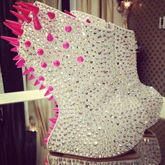 White Booties With Pink Spikes