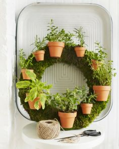 Herb Wreath: Sweet Paul Magazine - Summer 2012 - Page Herb Garden Design, Garden Art, Garden Tools, Home And Garden, Garden Ideas, Herbs Garden, Diy Plante, Sweet Paul, Herbs Indoors